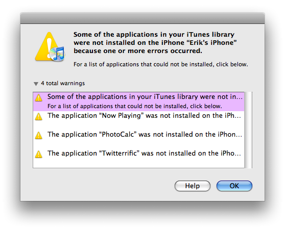 iPhone Error Message