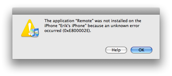 iPhone Install Error